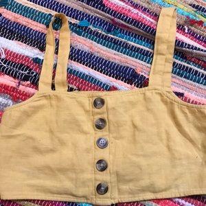 Yellow American Eagal button crop top